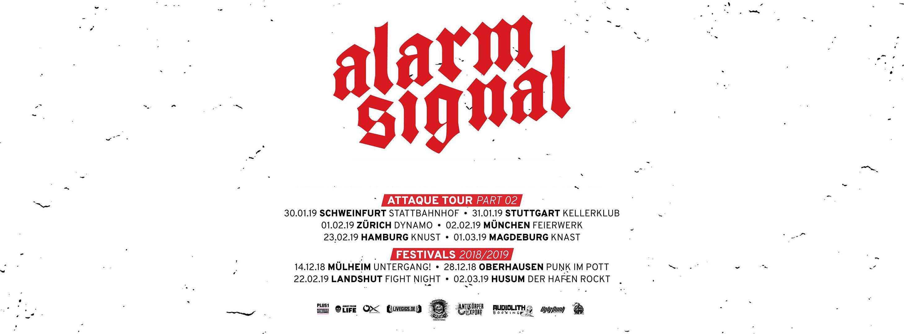 Alarmsignal Attaque-Tour 2018 - Konzerte